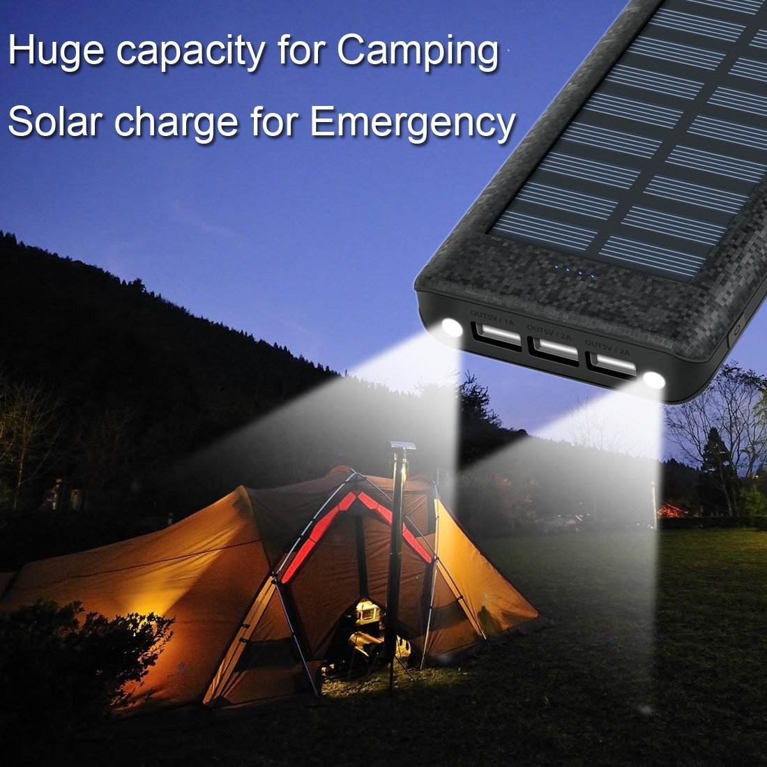 Solar Charger 24000mah Huaf Portable Battery Pack Phone 3 Via The Mini Usb Port On Charging Circuit Or Ports1a 2a