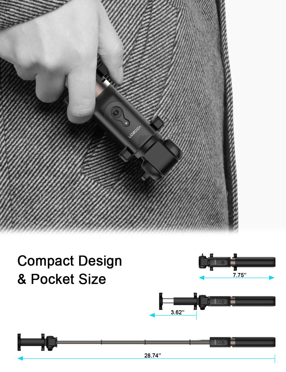 Yoozon Selfie Stick Bluetooth, Extendable Selfie Stick with Wireless Remote and Tripod Stand Selfie Stick for iPhone X /iPhone 8 /8 Plus/iPhone 7/iPhone 7 Plus/Galaxy Note 8/S8 /S8 Plus/Google