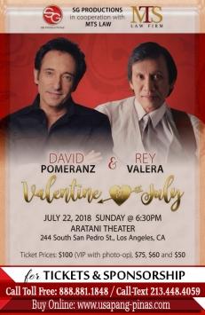 Valentine in July ft. David Pomeranz & Rey Valera Live in Aratani Theater July 22, 2018